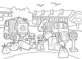 Lego Duplo Sanitary Service Collecting Garbage Coloring Pages