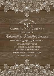 Country Wood 50th Wedding Anniversary Invitations