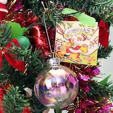 KiWarm Overvalue 6cm Clear Iridescent Glass Ball Christmas Ornament