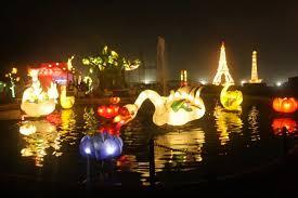 Taman Pelangi Lampion Cantik Di Malam Hari