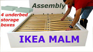 Ikea Brusali Wardrobe Instructions by Ikea Malm Bed Frame Assembly With 4 Storage Boxes White Luröy