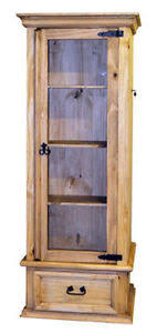 Image Is Loading Solid Wood Curio Cabinet With Lockable Hidden Gun