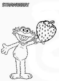 Sesame Street Zoe With Sweet Strawberry In Coloring Page