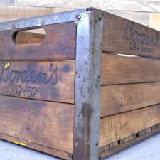 Vintage Wood Crate Bordens Wooden Milk Box