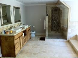 The Color Scheme Of Custom Vanity And Appliances Compliment Natural Shade Texture Stone Tile Used Throughout Bathroom