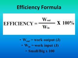 Efficiency Formula Wout Work Output J Win Input