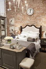 Bedroom Fabulous Round Clock And Bird Picture On Brick Wall Inside Rustic Ideas With