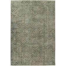 vintage teppich grün khaki zacken linien rauten muster wohnzimmer 80cm x 150cm