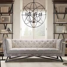 Armen Living Barrister Sofa by Armen Living Regis Cream Sofa With Pine Frame And Gunmetal Legs