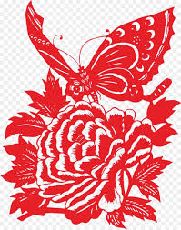 Papercutting Moutan Peony Bird And Flower Painting