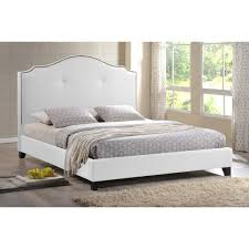 White King Headboard Upholstered by Marsha Scalloped White Modern Bed With Upholstered Headboard