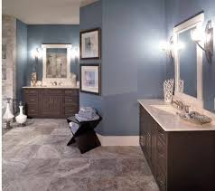 blue tan bathroom like the different color tile maybe modern