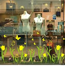 gelbe tulpen fenster aufkleber pvc schmetterlinge blumen diy