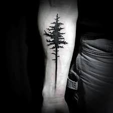 Mens Inner Forearm Simple Pine Tree Tattoo Ideas