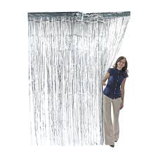 amazon com metallic silver foil fringe shiny curtains for party
