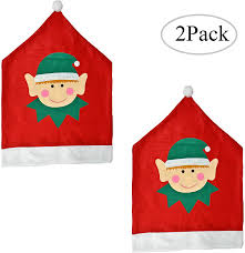 LSKY Christmas Elf Chair Covers - 2 Pack Dining Seat Back Slipcover,  Holiday Themed Accessories Festive Decor For Home And Kitchen, Red And Green Amazoncom 6 Pcs Santa Claus Chair Cover Christmas Dinner Argstar Wine Red Spandex Slipcover Fniture Protector Your Covers Stretch 8 Ft Rectangular Table 96 Length X 30 Width Height Fitted Tablecloth For Standard Banquet And House 20 Hat Set Everdragon Back Slipcovers Decoration Pcs Ding Room Holiday Decorations Obstal 10 Pcs Living Universal Wedding Party Yellow Xxxl Size Bean Bag Only Without Deisy Dee Low Short Bar Stool C114 Red With Green Trim Momentum Lovewe 6pcs Nordmiex Spendex 4 Pack Removable Wrinkle Stain Resistant Cushion Of Clause Kitchen Cap Sets Xmas Dning