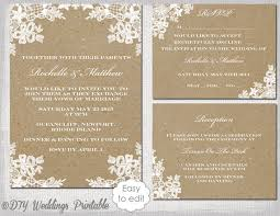 Rustic Wedding Invitation Set DIY Lace Printable Kraft Template Suite