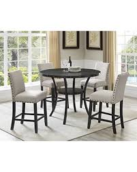 Roundhill Furniture P162TA Collection Biony Espresso Wood Counter Height Dining Set With Tan Fabric Nailhead Stools