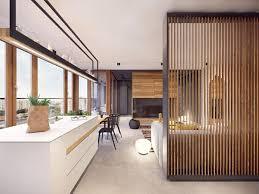 modern wohnung einrichtung design ideen raumteiler aus holz