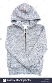 gray hoodie sweater isolated on white background stock photo