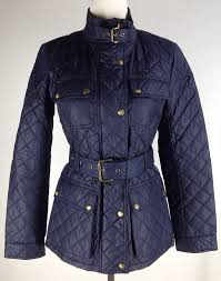 Michael Kors Quilted Jacket W Belt Size XS Dark Midnight Blue New