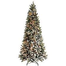 7ft Slim Christmas Tree by 7ft Slim Flocked Spruce Pre Lit Christmas Tree Amazon Co Uk
