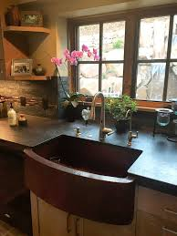 33x22 Copper Kitchen Sink farmhouse with curved apron kitchen copper sink single basin