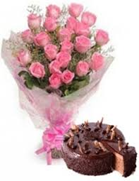 Simple 20 Pink Roses & 1 2 Kg Chocolate Cake