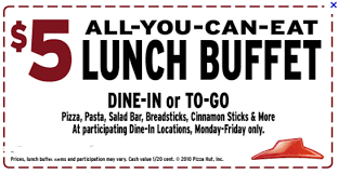 5 All You Can Eat Lunch Buffet Pizza Hut Get Unlimited Pasta Salad Bar Garlic Bread Sticks More For Only
