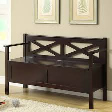 espresso wooden storage bench with x back and arms for indoor of