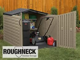 rubbermaid roughneck slide lid storage building has a low profile