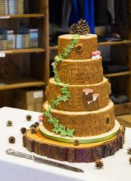 Tree Slice Rustic Wedding Cake
