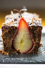 birnenkuchen schokolade und rotweinbirnen