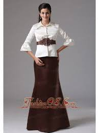 Modest Column High Neck 2013 Mother Of The Bride Dress With Long Sleeves And Belt