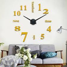 details zu design wand uhr wohnzimmer wanduhr spiegel gold wandtattoo deko 3d