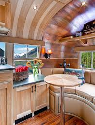 Fancy Dining Nook Inside Airstream Flying Cloud Travel Trailer