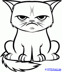 Drawings Of Cartoon Cats Coloring Pages Cat Drawing Eyes Tumblr Face Black