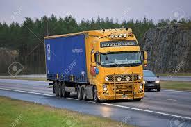 100 Truck Movie PAIMIO FINLAND NOVEMBER 6 2015 Volvo FH13 Semi With
