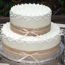 Rustic Buttercream Frosted Wedding Cake With Lace And Burlap Ribbon