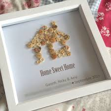 Personalised Home Sweet Button Art Print Box Frame Housewarming Gift New