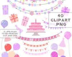 Until New Year Birthday party clipart happy birthday girl Balloons cake banners flowers