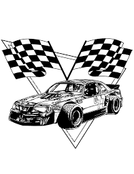 Race Car Checkered Flags Coloring Page