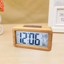 led bambus holz wecker digital alarmwecker uhr beleuchtet schlummerfunktion lcd