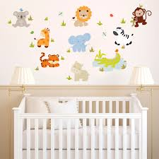 Interior Decorating Baby Nursery Wall Decor Ideas Mini Zoo Cute Cartoon Happy Cheerful Safari Motifs