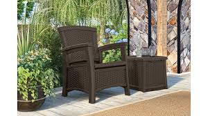 Suncast Resin Patio Furniture by Suncast Elements Club Chair With Storage