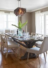 Farm Tables For Sale Transitional Dining Room And Baker Beach Style Bench Seating Capiz Shell Chandelier Table Grasscloth Ivory