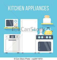 Kitchen Appliances Set Flat Design Vector