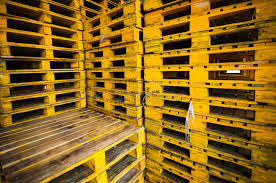 Download Yellow Wood Pallets Background Stock Image