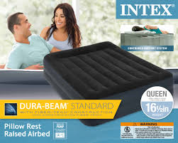Intex Inflatable Pull Out Sofa Bed by Intex Queen Pillow Rest Fiber Tech Airbed Air Mattress Bed Built