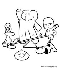 Pocoyo And His Best Friends Coloring Page